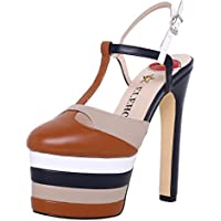 ELEHOT Donna Leo tacco a spillo 16CM Leather