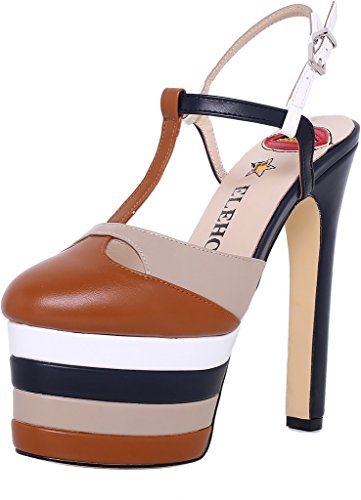 ELEHOT Donna Leo tacco a spillo 16CM Leather Sandali, marrone,