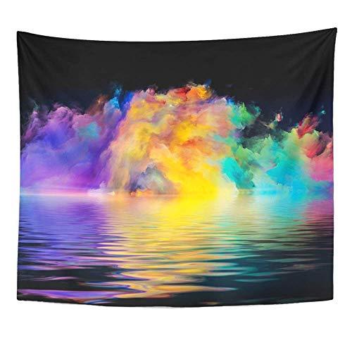 Gobelin-Polyester-Stoff-Druck Home Decor Shore von Neverland-Serie verfasste Farben und Farbverläufe als Metapher an der Wand hängenden Gobelin für Wohnzimmer Schlafzimmer Dorm -