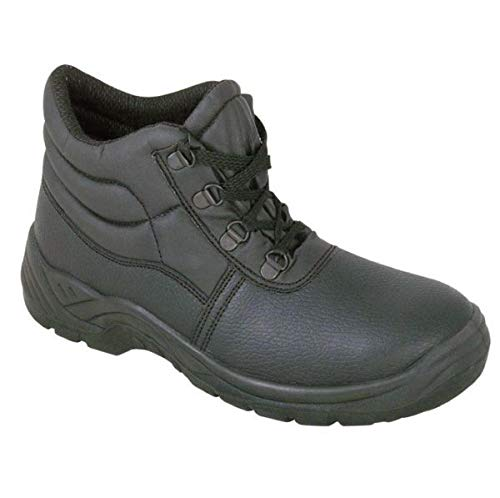 Safety Chukka Work Boots with Steel Toe Cap and Midsole Protection, Black