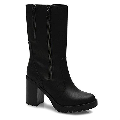 Firetrap Femme quaff Talons cheville bottes style décontracté fermeture à fermeture éclair Mesdames Noir - noir