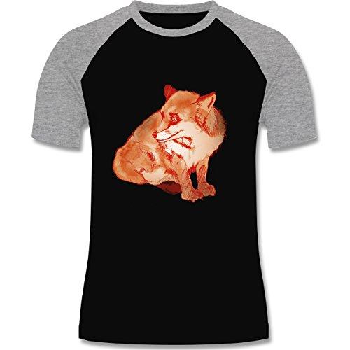 Boheme Look - Fuchs Süss Zeichnung - zweifarbiges Baseballshirt für Männer Schwarz/Grau Meliert