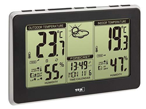 TFA Dostmann MONDO Wetterstation, 35.1151.01, wetterstation funk mit außensensor, Funkuhr, Wettervorhersage, schwarz