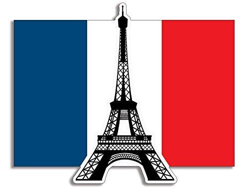 Eiffelturm auf der Frankreich Flagge Aufkleber (B/W Aufkleber French Paris) (Paris Aufkleber)