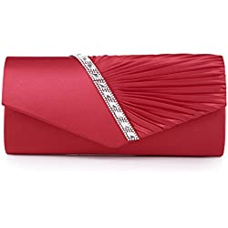 Damara Pleated Crystal Studded Satin Handbag Evening Womens Clutch (Red)