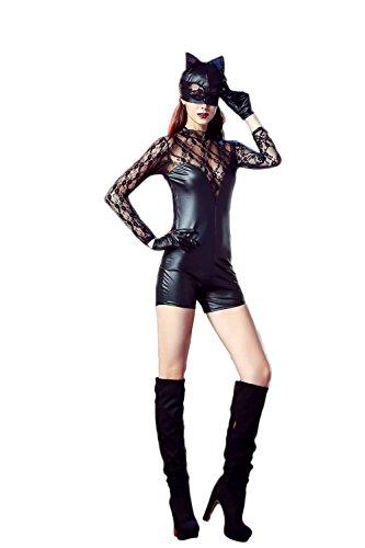 SEXY-MAN Halloween Kostüm für Erwachsene Lack/Latex Look Catsuit DS Nachtclub Kostüme Bühnen Cosplay Katzenfrau Jumpsuit Wetlook Dessous, XL