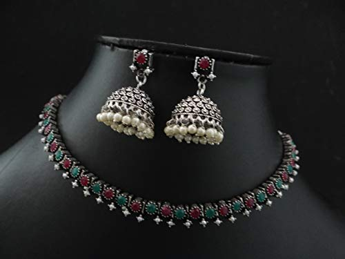 Innovaze Oxidized German Silver South India Jewelry in Stone Setting Beautiful Necklace Choker Set for Girls and Women