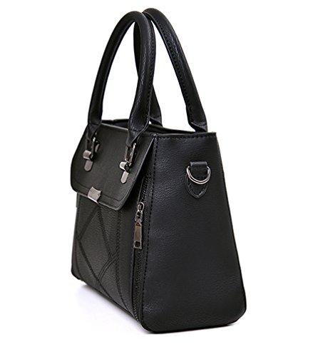 Baymate Damen Klassisch Handtaschen Messenger Tasche Reißverschluss Kunstleder Umhängetasche Schwarz