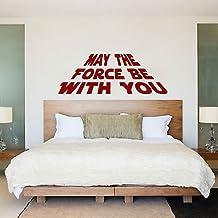 "Vinilo decorativo, diseño de Star Wars con texto ""May the force be with you"", negro, Medium - 108cm W x 40cm H"