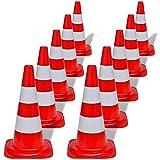 Wakects Coni Stradali, Set 10 Pezzi Coni Segnaletici, Impilabili, Cono di Traffico con riflettore di Segnalazione, Rosso e Bianco, 50 cm