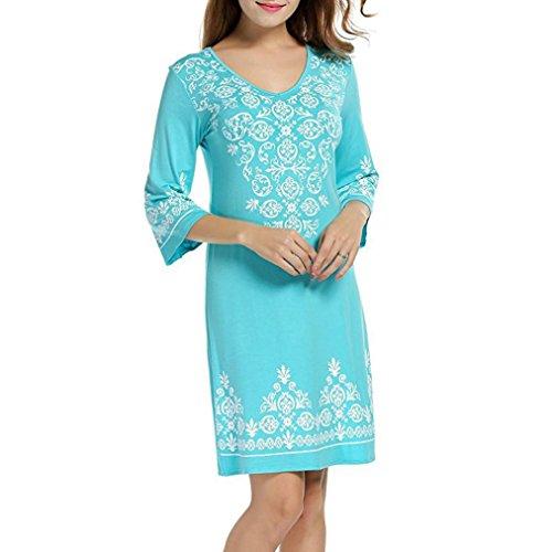 MRULIC Damen Elegante Chinesische Art Kleid Kostüm 3/4 Ärmel Lässig Fließenden Print Swing T-Shirt Tunika Kleid(Blau,EU-42/CN-XL)