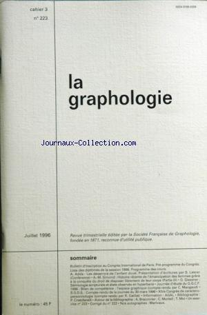 graphologie [No 223] du 01/07/1996 -