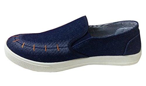 Scarpe Sportive da Uomo - Tela - Senza Lacci - Tessuto Blu Jeans (Taglia 38.5 EU = 40 del Produttore)