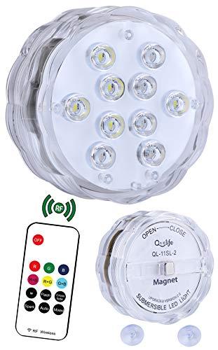 Unterwasser Led Licht Magnetisch mit RF Fernbedienung - Qoolife 10 RGB Led Beleuchtung mit Batteriebetrieben Saugnapf, Unterwasser Led Leuchte Poolbeleuchtung für Vase, Halloween, Party, Whirlpool