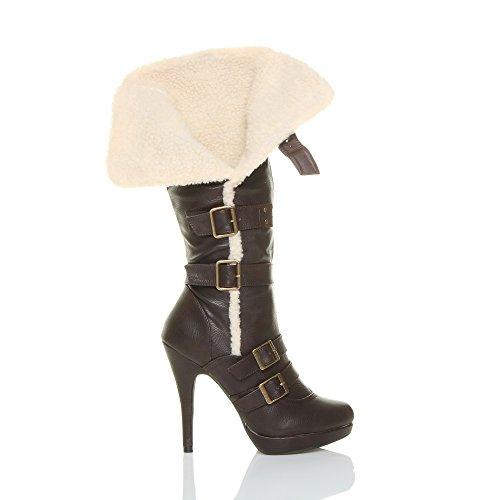 platform Damen Stiefel, shearling Piloten knee high Heels mit Schnallen Stiefel, Kunstpelz Braun