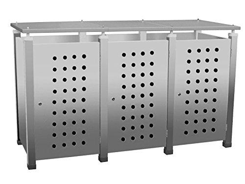 Mülltonnenbox Modell Pacco E Circ10 für drei 120 ltr. Tonnen in Edelstahloptik