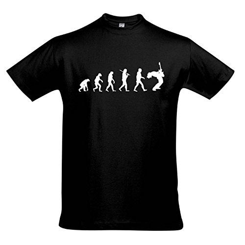 T-Shirt - EVOLUTION - Gitarre Musik Guitar FUN KULT SHIRT S-XXL , Deep black - weiß , XL