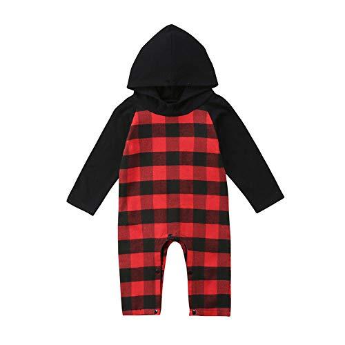 Bauycy Overall Baby Kinder Hoodie Jungen Mädchen langärmelige karierte Einteiler Strampler Strampelanzug Sweatshirt leichte bequeme Pyjamas Pullover Mode mit Kapuze Freizeitkleidung -