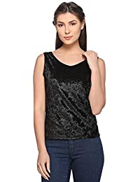 a932279008575 ARMURE Casual Sleeveless Solid Women s Black Top
