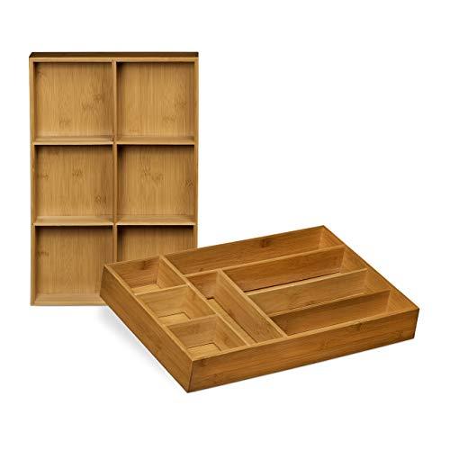 Relaxdays Schubladeneinsatz aus Bambus 2er Set H x B x T: ca. 6,5 x 30,5 x 46 cm Küchenorganizer mit herausnehmbaren Trennwänden Schubladenkasten als Besteckkasten nutzbar Schubladenorganizer, natur