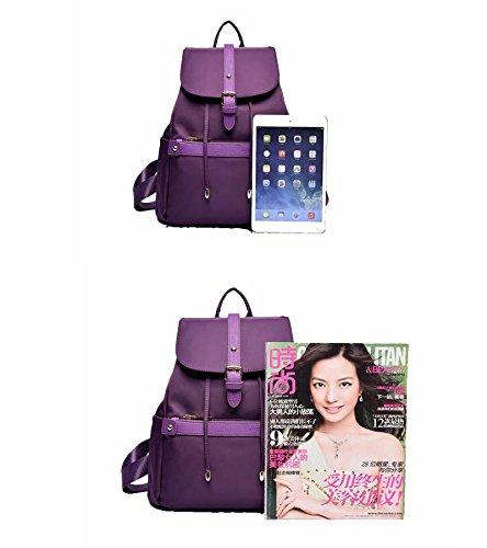 Damen Casual Nylon Echtes Leder Laptoptasche Schulrucksack Schulranzen Reisetasche (violett) violett