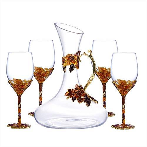 1,5L Carafe à Décanter le Vin en Cristal Carafe à Vin Rouge Avec 4 Verres à Vin Rouge (300Ml) - 100% Verre Sans Plomb Soufflé à La Main, Bouteille de Whisky, Cadeaux de Vin, Accessoires de Vin