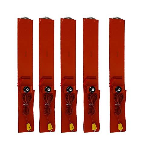 YXS Einstellbare Höhe Heizung Thermostat, Standard Heavy Duty Poly Drum Heater, Geeignet für Metall Eimer, Honig Eimer, Plastikeimer, Farbeimer, 5in Breite, 68in Länge - 5 Stück,220V -