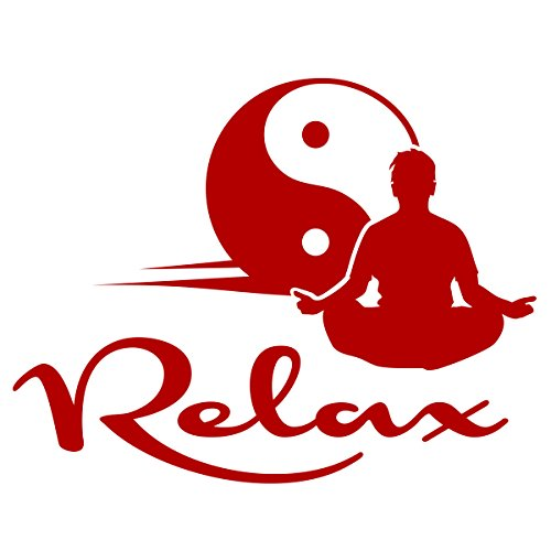WANDKINGS Wandtattoo - Relax Yin Yang - 130 x 101 cm - Rot - Wähle aus 5 Größen & 35 Farben