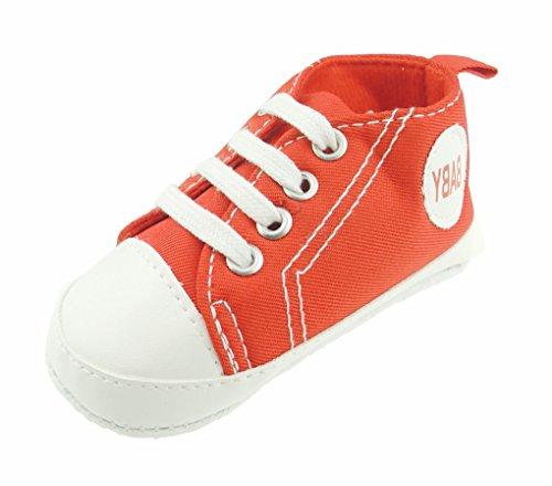 Zapatillas de encaje para bebé, niños y niñas, color rojo rojo rosso Talla:0-3 Meses