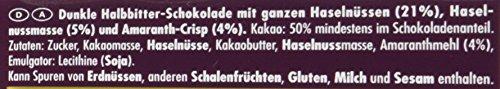 RITTER SPORT Dunkle Voll-Nuss Amaranth (10 x 100 g), Vegane Schokolade, mit ganzen Haselnüssen und Amaranth verfeinert, Halbbitterschokolade - 4