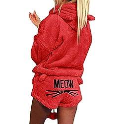 Minetom Femmes Automne Hiver Ensemble De Deux Pièces Pyjamas Chaud Corail Velours Vêtements De Nuit Mignon Chat Minou Motif Sweat à Capuche et Shorts Rouge FR 36