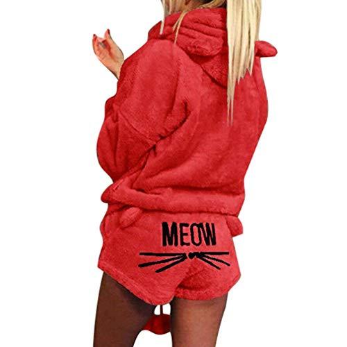 Minetom Herbst Winter Pyjamas Damen Mädchen Zweiteiler Ensembles de Pyjama Warm Coral Fleece Samt Nachtwäsche Süße Katze Kitty Kapuzenpullover Hoodies und Shorts Rot DE 34