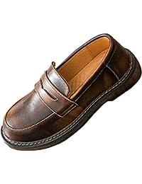 SXSHUN Mocasines para Niñas Zapatos para Uniforme Colegio sin Cordones