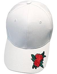 Gorra de beisbol ❤️Koly Gorra de béisbol ajustable de algodón de estilo vintage unisex para Deportes al aire libre Pareja Rose sombreros casuales Gorras de béisbol de Hip Hop Flat Hat (Blanco, 1 PC)