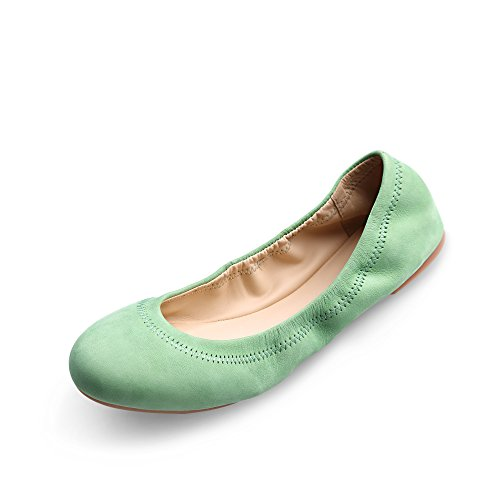 Xielong Chaste Ballett Flach Lammfell Loafers Casual Damen Schuhe Leder Geschlossene Ballerinas Green 6.5 -