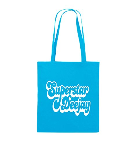 Comedy Bags - Superstar Deejay - Jutebeutel - lange Henkel - 38x42cm - Farbe: Schwarz / Pink Hellblau / Weiss