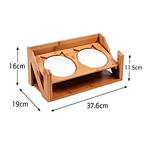 ZNN Pet Elevated Bowl - Adjustable Elevated Pet Double Bowl Bamboo and Wood Dining Table to Promote Pet Digestion, with 2 Ceramic Bowls, Easy to Clean from ZNN