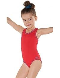 Kinder Badeanzug mit Racerback Rücken Bademode Mädchen Schwimmanzug UV-Schutz in Rot, Rosa, Dunkelblau