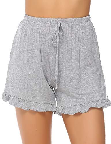 Aibrou Damen Schlafanzughose Kurz Shorty Sommer Baumwolle Gestreift Schlafanzug Pyjama Hose Nachtwäsche Kurze Sleep Hose Grau-1 XL