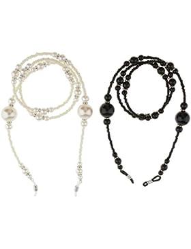 Gazechimp 2 Piezas Collar Soporte de Gafas de Sol Correa de Cuello Color Negro/Blanco