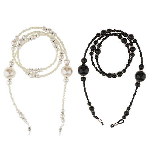 Gazechimp Brillenkette Halskette 65cm Länge, elegant und schön für Sonnenbrille Lesebrille, 2 Stück/Pack: Weiß + Schwarz