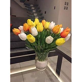 witgift 20 Tulipanes Artificiales, Ramo de Flores Falsas para decoración de hogar, Cocina, Sala de Estar, Comedor, Mesa de Boda (Blanco, Amarillo, Rojo Atardecer)