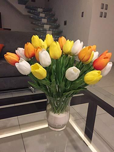 showll Künstliche Tulpen, 20 Stück Tulpe künstliche Blume Latex Real Touch Bridal Wedding Bouquet für Hochzeits-Bouquets, Zuhause, Hotel, Garten-Deco,2 Farbe (Weiße gelbe Mandarine)