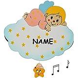 """Spieluhr aus massiven Holz - rosa Engel auf Wolke """" Wiegenlied - Guten Abend Gute Nacht """" - Kinderzimmer Melody - Musikspieluhr für Kinder mit Spielwerk - Wand / als Wandbild - Sterne Mond Engelchen Mädchen"""