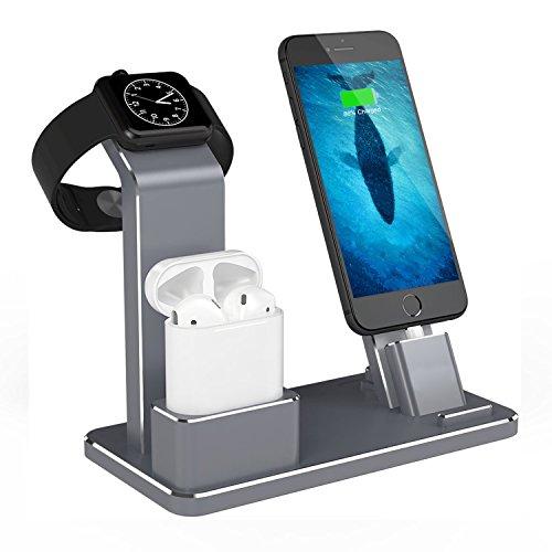 Nike Plus Watch (KOBWA für IPhone Airpods IWatch Ständer,Aluminium 4 in 1Airpods Apple Watch Ständer IPhone Docking Station für Apple AirPods Apple Watch IPhone 8/ 8 Plus, IPhone X, IPhone7 / 7 Plus)