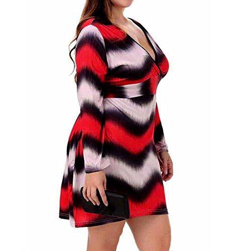janly® Sexy Damen Kleid Plus Größe Herbst Drucken Tunika Tops Deep V-Neck lange ärmel Kleider, damen, mehrfarbig (Puff Sleeve Top V-neck)