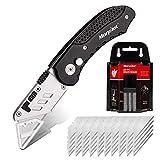 Cutter, Morpilot Messer| Teppichmesser| Universal Klappmesser, mit 50 Ersatzklingen, Rutschfesten Griff, mit Tasten Leicht zum Freigegeben| Sperren
