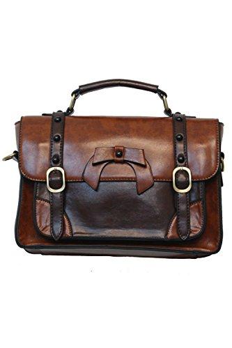 Banned Ladies Bag BBN783 marrone chiaro con borsetta con fiocco, stile retrò