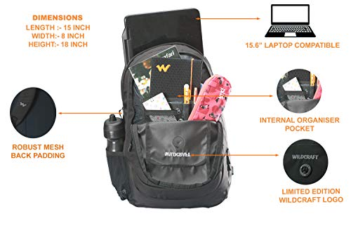 Best wildcraft backpack in India 2020 WILDCRAFT. Polyester 35 L Black Laptop Backpack Image 4
