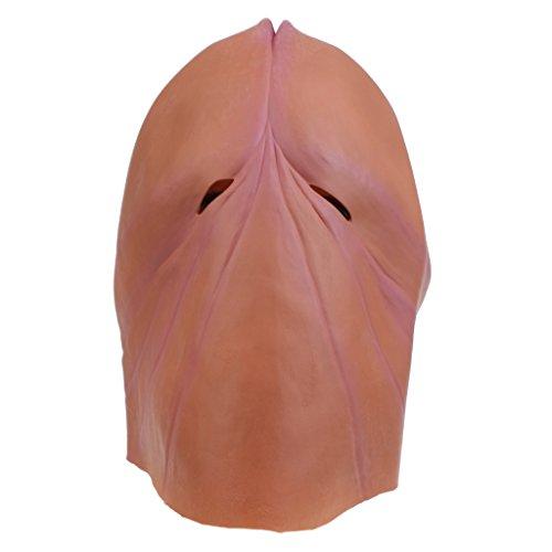 Sharplace testa maschera di lattice willy pene per adulti halloween carnevale festa scherzo addio al nubilato regalo divertente - marrone